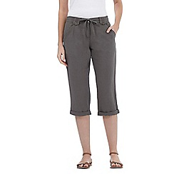 The Collection - Khaki linen blend cropped trousers