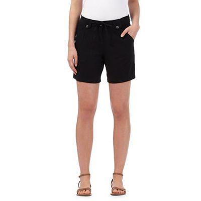 The Collection Black linen blend shorts