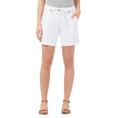 The Collection White linen blend shorts