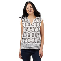 The Collection - Grey leaf print notch neck top