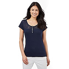 The Collection - Navy crochet lace top