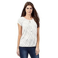 The Collection - Ivory ikat print bubble hem top