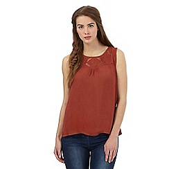 The Collection - Brown lace yoke sleeveless top