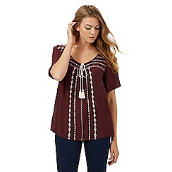 The Collection - Maroon embroidered top