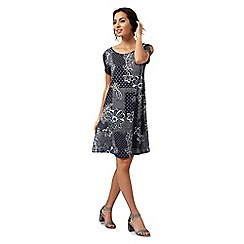 The Collection - Navy floral print cut-out sleeve dress