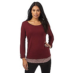 The Collection - Dark red floral tile print trim top