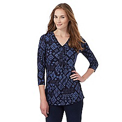 The Collection - Navy diamond print tunic