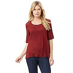 The Collection - Red lace yoke top