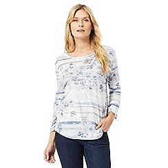 The Collection - Pale blue floral striped top