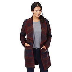 The Collection - Dark red diamond patterned blanket coat