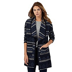 The Collection - Navy diamond patterned blanket coat