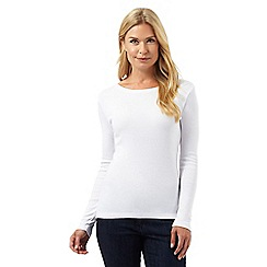 The Collection - White long sleeved scoop neck top