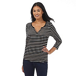 The Collection - Black three quater length sleeve striped top