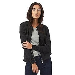The Collection - Dark grey zip through bomber jacket