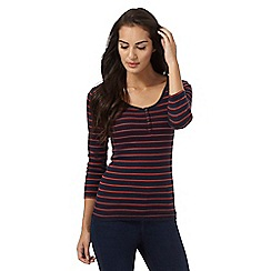 The Collection - Navy and red striped print three quater length sleeve jersey top