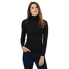 The Collection - Black ribbed roll neck top