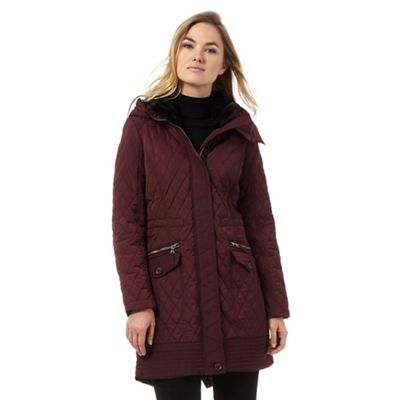 The Collection Dark red longline quilted parka coat | Debenhams