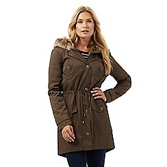 The Collection - Khaki faux fur lined parka jacket
