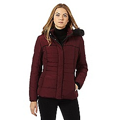 The Collection - Dark red padded faux fur trim jacket