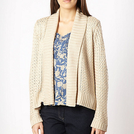 The Collection - Beige textured knit drape front cardigan