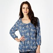 Blue bubble hem t-shirt