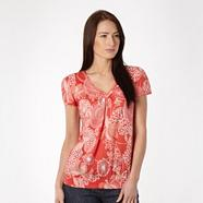 Dark peach floral embroidered top