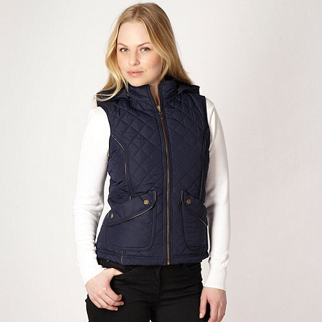 The Collection - Navy quilted hooded gilet