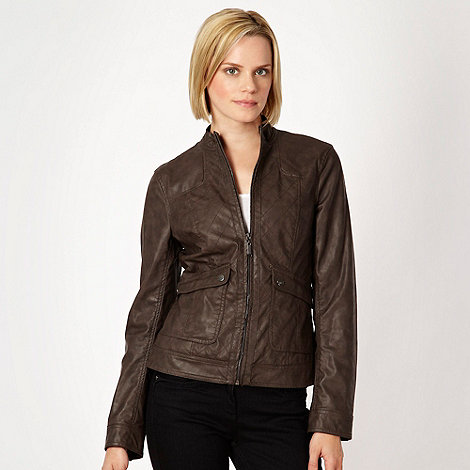 The Collection - Dark brown quilted faux leather jacket