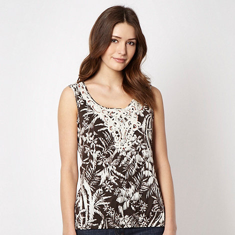 The Collection - Brown rainforest crochet vest