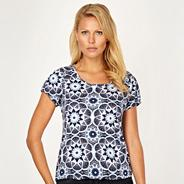 Navy floral bubble hem t-shirt