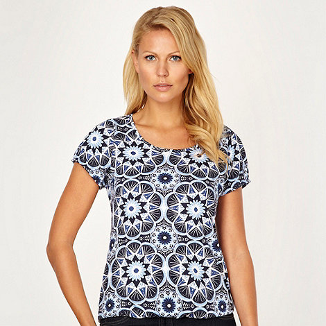 The Collection - Navy floral bubble hem t-shirt