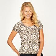 Khaki floral bubble hem t-shirt