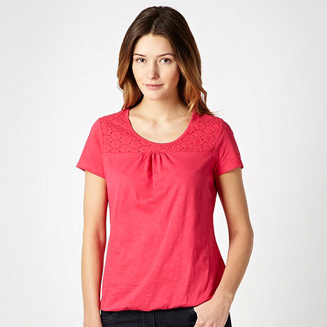 The Collection - Bright pink broderie insert bubble hem t-shirt