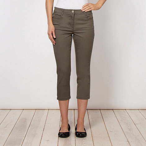 The Collection - Khaki soft stretch denim cropped jeans