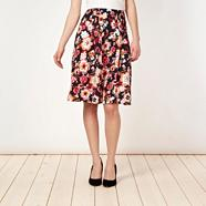 Navy forget me not floral skirt