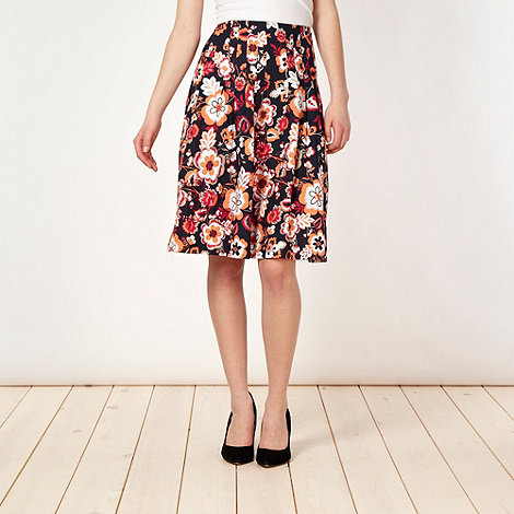 The Collection - Navy forget me not floral skirt