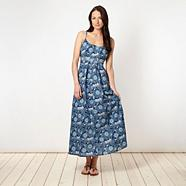 Blue woven floral maxi dress