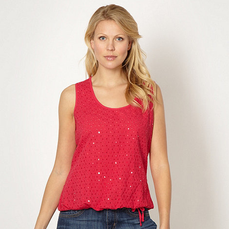 The Collection - Bright pink broderie sequin vest