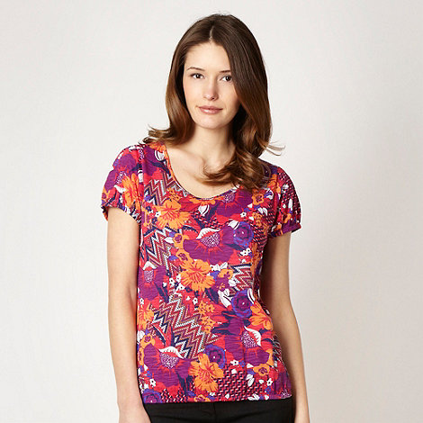 The Collection - Purple floral jersey bubble hemmed top