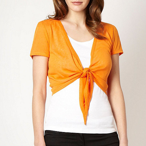 The Collection - Bright orange tie front shrug