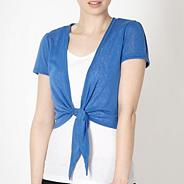Royal blue tie front shrug