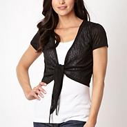 Black short sleeved tie front shrug