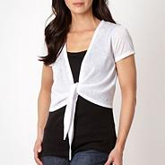 White short sleeved tie front shrug