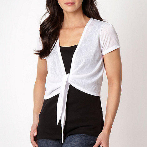 The Collection - White short sleeved tie front shrug