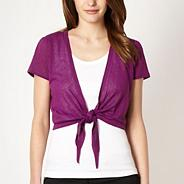Bright purple tie front shrug