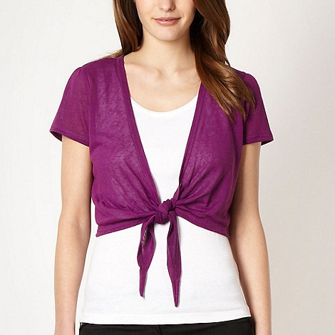 The Collection - Bright purple tie front shrug