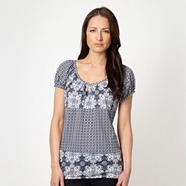 Navy mixed tribal printed top