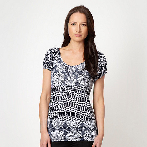 The Collection - Navy mixed tribal printed top