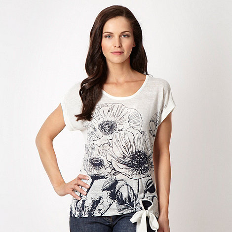 The Collection - Navy sketched flower printed top