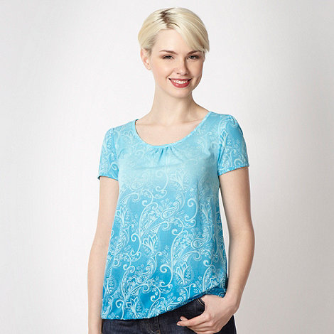 The Collection - Bright blue dip dye paisley top